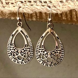 Boho teardrop silver lace earrings